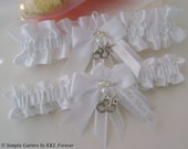 Sheriff Wedding Garters Handmade White Garters