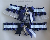 Police Officer Wedding Garters Handmade Navy Blue and White Garters