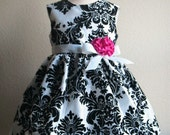 Black and White Taffeta Damask Dress, Custom Order Flower Girl Dress or Special Occasion Dress, Vintage Inspired Girls Dress