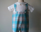 One of a Kind, Boys Plaid, John John, Jumper,Suit, Romper, for Ring Bearer or Boys Special Occasion, First Birthday, Ready to Ship