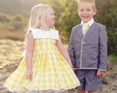 Yellow Gingham Flower Girl Dress Sizes (5-8) - beaneandco
