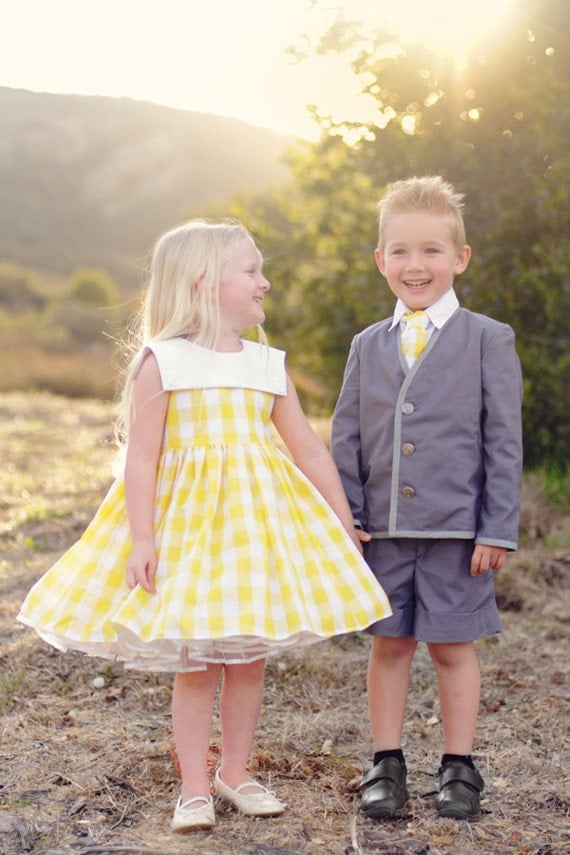Yellow Cotton Gingham Flower Girl Dress, Special Occasion Dress, Girls Gingham Dress, Vintage Inspired Dress