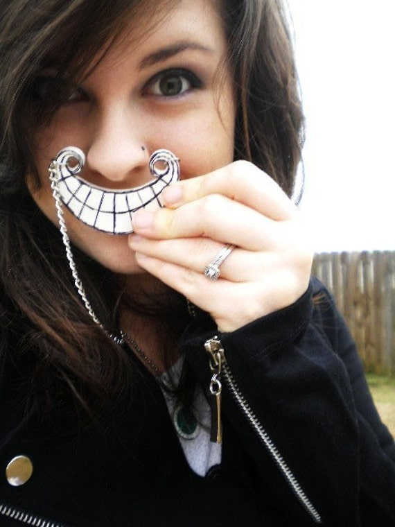 Tim Burton Style Cheshire Cat Smile Necklace - Alice in Wonderland