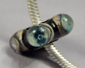 Into the Abyss - Silver Cored Lampwork Handmade European Charm Bead Dots