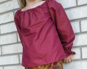 2011 Clearance Sale  50% off SALE Cinnamon Burgandy Dupioni Silk Peasant Blouse  -- Size 5T-- Other sizes also available