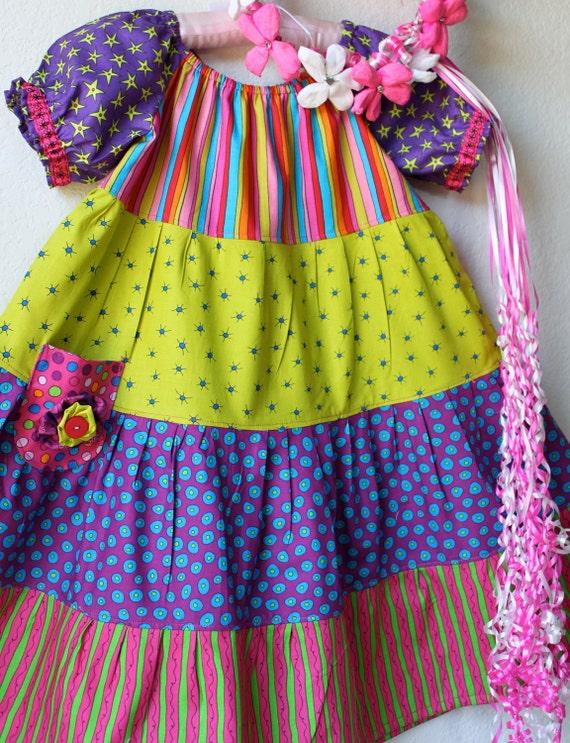 Sale Color block peasant dress SIZE 5T RTS Fiesta and Cinco De Mayo