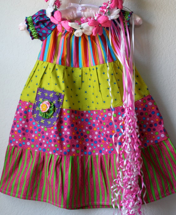 SALE -- New Color block peasant dress Size 2T RTS for Easter, Fiesta and Cinco De Mayo