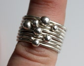 On Sale: Large Set of Silver Stacking Rings with Recycled Silver Baubles
