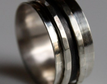 Silver Unisex Ring with Oxidized Finish