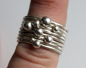 Large Set of Silver Stacking Rings with Recycled Silver Baubles