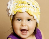 Flower Flapper Hat - 12 to 24 Month