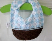 Baby Bibs-Storybook-Blue-Argyle-Brown-Minky Dots-Savvy Baby Goodies-Cotton-Terry-Gifts-Ready-To-Ship