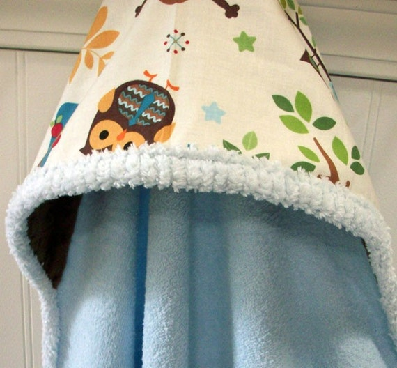 Baby Hooded Towels-Owls-Blue-Woodland-Animals-Minky Dots-Savvy Baby Goodies-Beach-Bath-Terry-Cover Up-Wrap-Kids-Wash Cloth-Gift Set-Boys