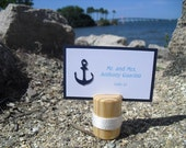 Escort Card Holders - SET OF 10 Nautical Wood Beach Wedding Place Card Holders - Item 1165