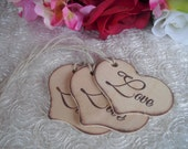 Heart Gift Tags - SET OF 10 Rustic Heart with Love Wood Favor Gift or Bag Tags - Item 1031