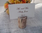 Escort Card Holders - SET OF 10 Rustic Barnwood Style Wood Place Card Holders - Item 1077