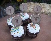 Cupcake Toppers - SET OF 12 Rustic Monogram Cupcake Toppers - Item 1161