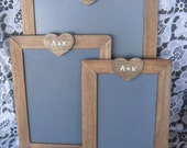 SET of 3 Rustic Personalized Chalkboards for Signs and Table Numbers or Photo Props - Item 1381