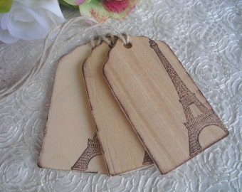 Favor Tags - SET OF 10  Vintage Style Paris Wood Favor Gift or Bag Tags - Item 1127