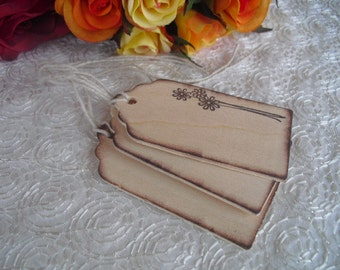 Favor Tags - SET OF 10 Rustic Country Wildflower Wood Favor Gift or Bag Tags - Item 1020