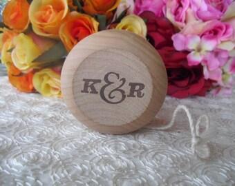 SET OF 10 Vintage Style Monogram Personalized Wood Yo Yo Favors - Item 1183