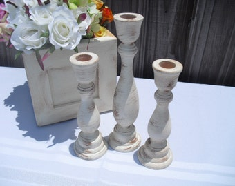 Set of 3 Distressed Wood Candle Stick Holders for Rustic Shabby Chic Wedding - You Pick Color - Item 1229