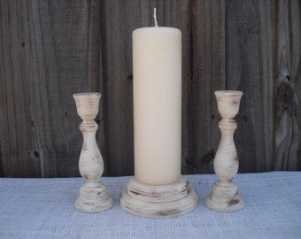 Shabby Chic Wood Wedding Unity Candle Holder Set - You Pick Color - Item 1308