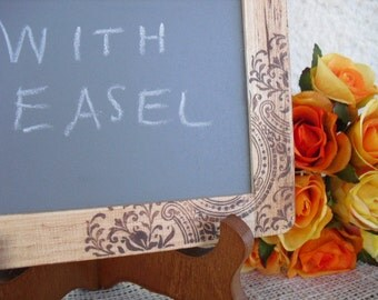 MEDIUM Rustic Western Paisley Chalkboards with EASELS for Signs and Table Numbers or Photo Props - Item 1242