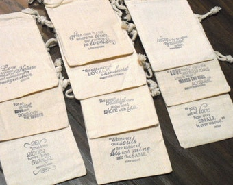 SET OF 10 4x6 Famous Love Quotes Muslin Favor Bags or Candy Buffet Bags - Item 4M1053