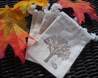 Favor Bags - SET OF 10 Fall Tree with Hearts Muslin Favor Bags Gift Bags or Candy Bags - Item 1130