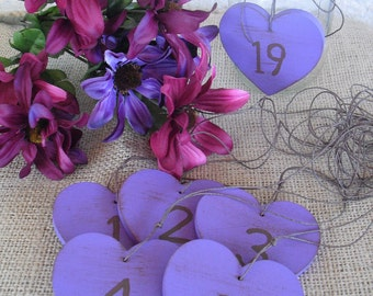 Shabby Chic Wood Heart Table Number Tags Signs - Item 1114
