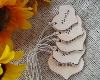 Favor Tags - SET OF 10 Rustic Thank You Wood Heart Favor Gift Tag or Bag Tags - Item 1192