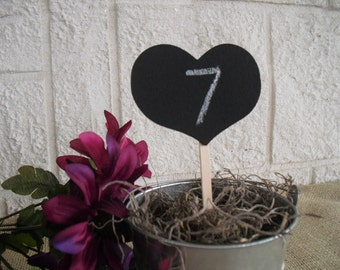 Chalkboard Hearts on a Stick for Table Numbers Signs Photo Props - Item 1180