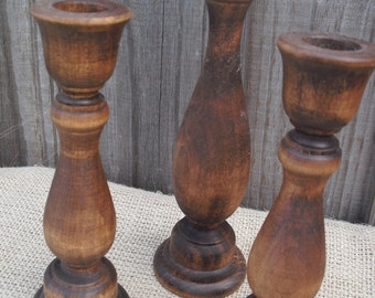Set of 3 Wooden Candle Holders - Item 1148