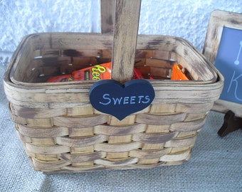 Rustic Wood Basket with Chalkboard Heart - Item 1445
