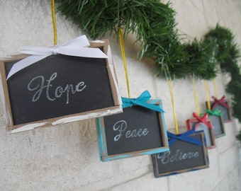 SET OF 6 Vintage Inspired Mini Chalkboard Christmas Ornaments (You Pick Color) - Item 1314