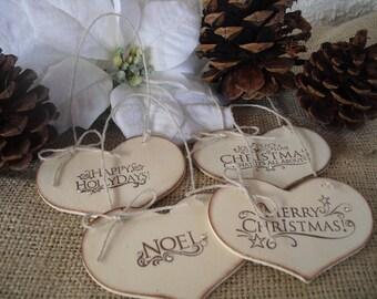 SET OF 4 Rustic Wood Heart Christmas Ornaments - Item 1309