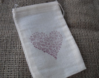 Favor Bags - SET OF 10 3x5 Floral Heart Muslin Favor Bags Gift Bags or Candy Bags - Item 1284