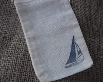 Favor Bags - SET OF 10 Sailboat Nautical Beach Muslin Favor Bags Gift Bags or Candy Bags - Item 1056