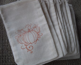 Favor Bags - SET OF 10 Fall Pumpkin Muslin Favor Bags Gift Bags or Candy Bags - Item 1144