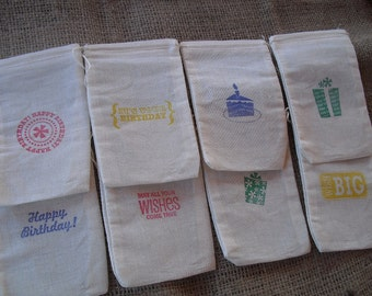 Favor Bags SET OF 8 Birthday Party Muslin Favor Bags Gift Bags or Candy Bags - Item 1222