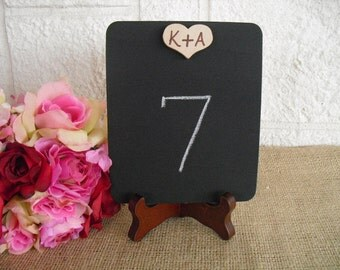 Rectangle Chalkboard Signs with Personalized Wood Heart with EASELS - Item 1094