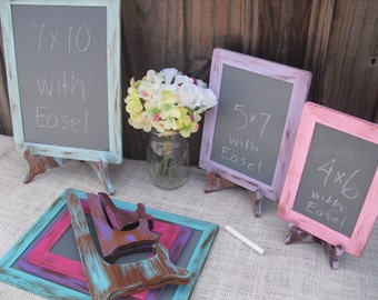 SET of 6 Shabby Chic Rustic Distressed Chalkboards with EASELS for Signs and Table Numbers or Photo Props (You Pick Color) - Item 1186