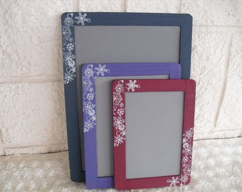 SET OF 3 Winter Snowflake Chalkboards for Signs and Table Numbers or Photo Props - Item 1306