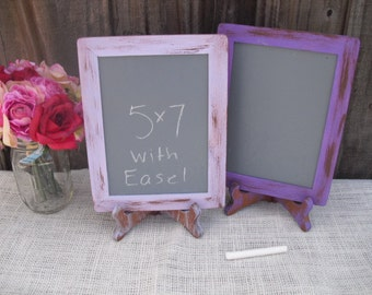 MEDIUM Shabby Chic Rustic Chalkboards with EASELS for Signs and Table Numbers or Photo Props (You Pick Color) - Item 1213