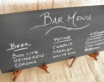 ONE LARGE Frameless Rustic Chalkboard with EASELS for Wedding Signs Photo Props - Item 1109
