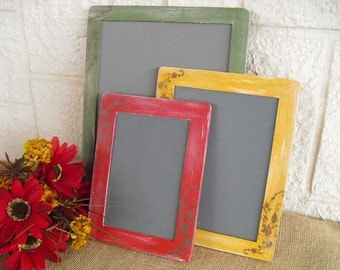 Chalkboards - SET OF 3 Fall Shabby Chic Chalkboards for Signs and Table Numbers or Photo Props - Item 1146