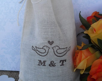Favor Bags - SET OF 10 Love Birds Personalized 4x6 Muslin Favor Bags Gift Bags or Candy Bags - Item 1343