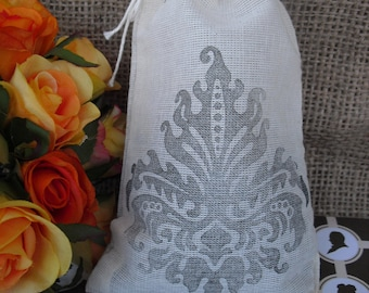 Favor Bags - SET OF 10 Vintage Style Damask 4x6 Muslin Favor Bags Gift Bags or Candy Bags - Item 1345