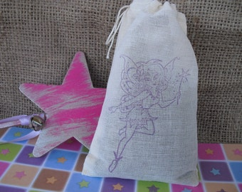 Favor Bags - SET OF 10 Princess Fairy 4x6 Muslin Favor Bags Gift Bags or Candy Bags - Item 1346
